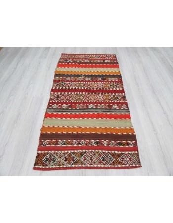 Antique striped embroidered Turkish kilim rug
