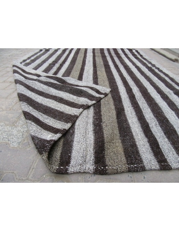 Black / Gray Striped Vintage Kilim Rug