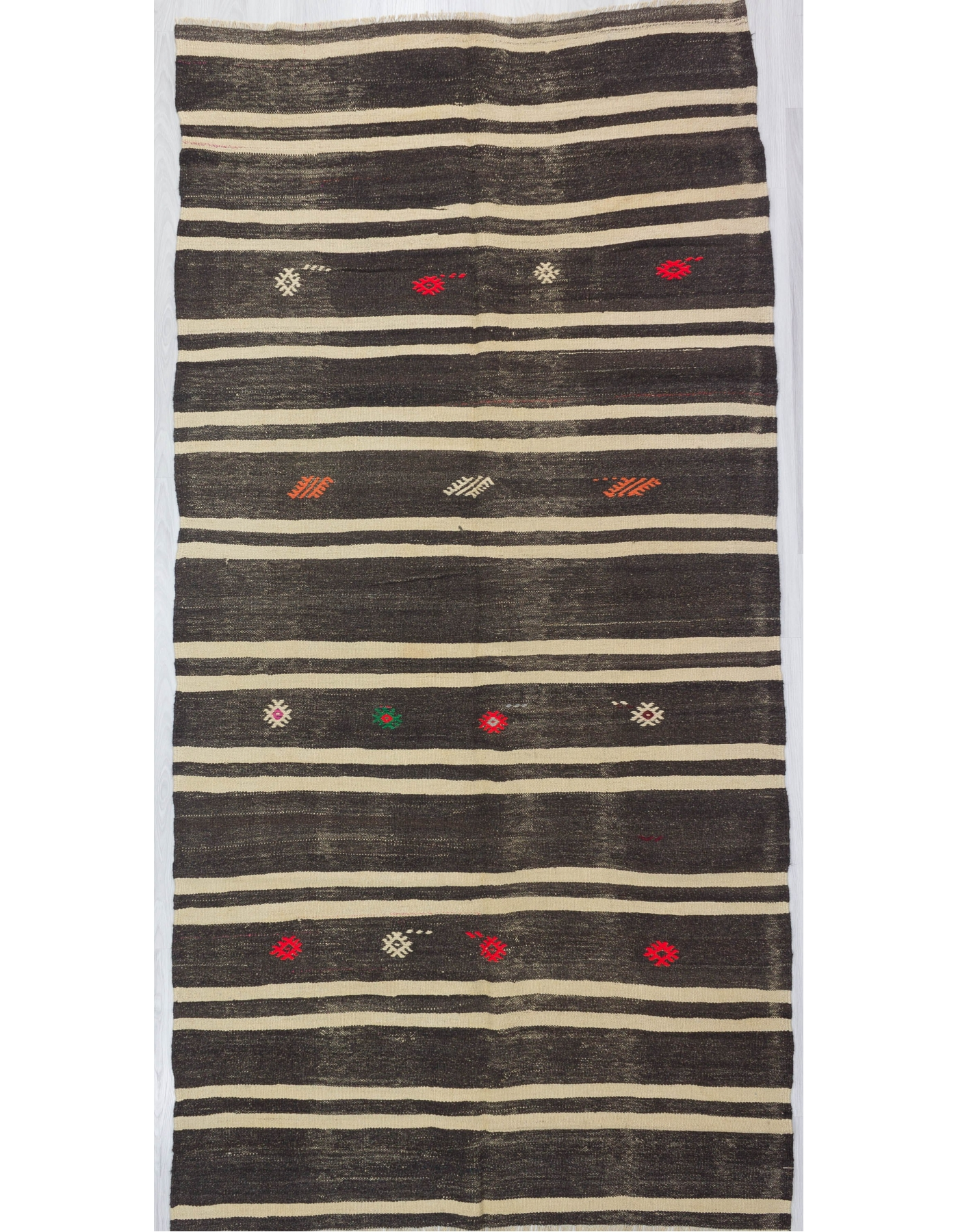 White Striped Vİntage Turkish Kilim Rug