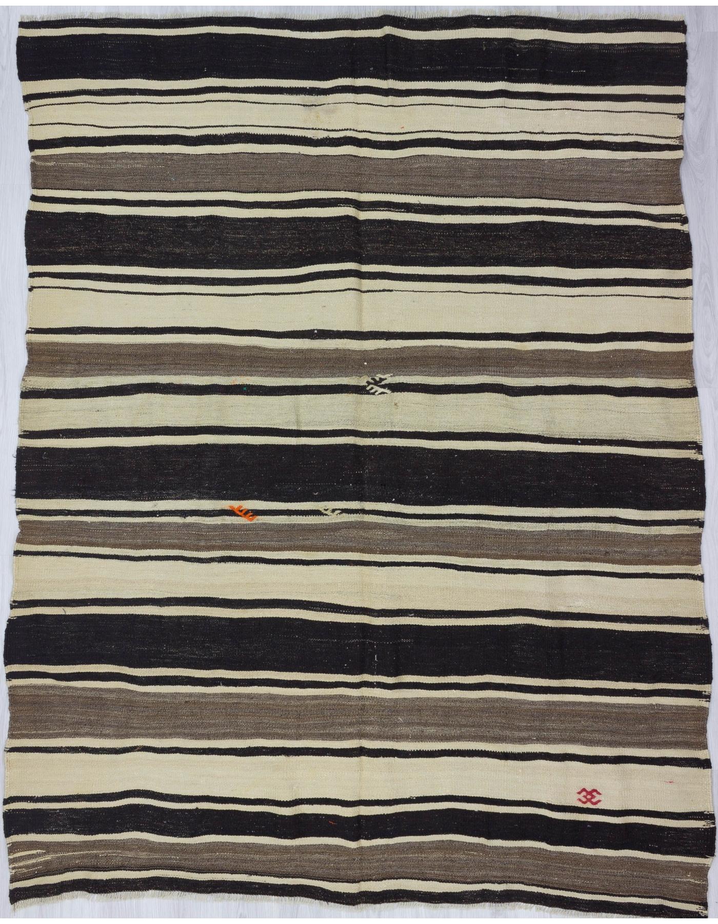 Black Gray White Striped Kilim Rug