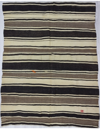Black / Gray /White Striped Kilim Rug