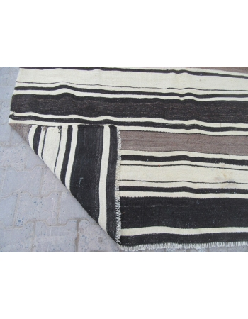 Black / Gray /White Striped Kilim Rug